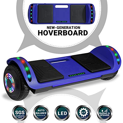 Beston Sports Newest Generation Electric Hoverboard Dual Motors Two Wheels Hoover Board Smart self Balancing Scooter with Built in Speaker LED Lights for Adults Kids Gift (Blue)