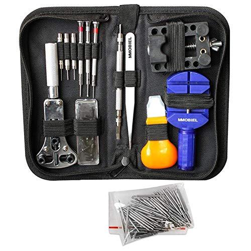 MMOBIEL Kit de Herramientas de reparación Profesional de relojería, Incluye pasadores de Resorte y Llave de Tornillo para Insertar baterías en Bolsa de Nailon (144 Unidades)