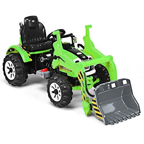 Goplus Veicolo Elettrico, Escavatore Giocattolo Grande, Bulldozer a Pedali, Pala dell'Escavatore con Funzione Manuale, Bulldozer di Grandi Dimensioni, Due velocità (Verde)