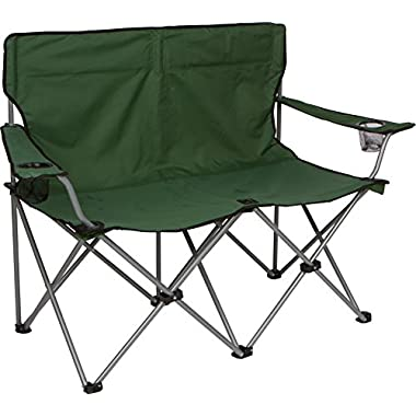 Trademark Innovations Loveseat Style Double Camp Chair with Steel Frame, 31.5 , Army Green