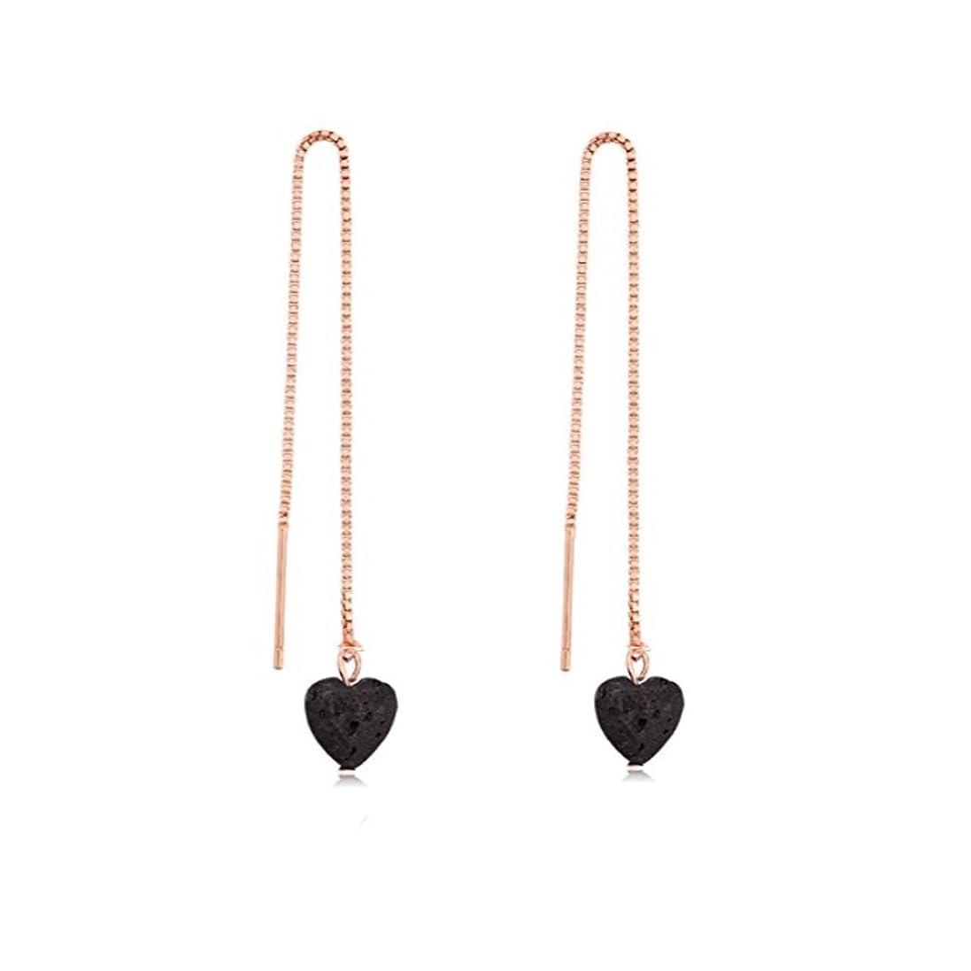 敬な定説アウトドアmanzhen Small Heart Shape Lava Stone ThreaderイヤリングEssential Oil Diffuserイヤリング