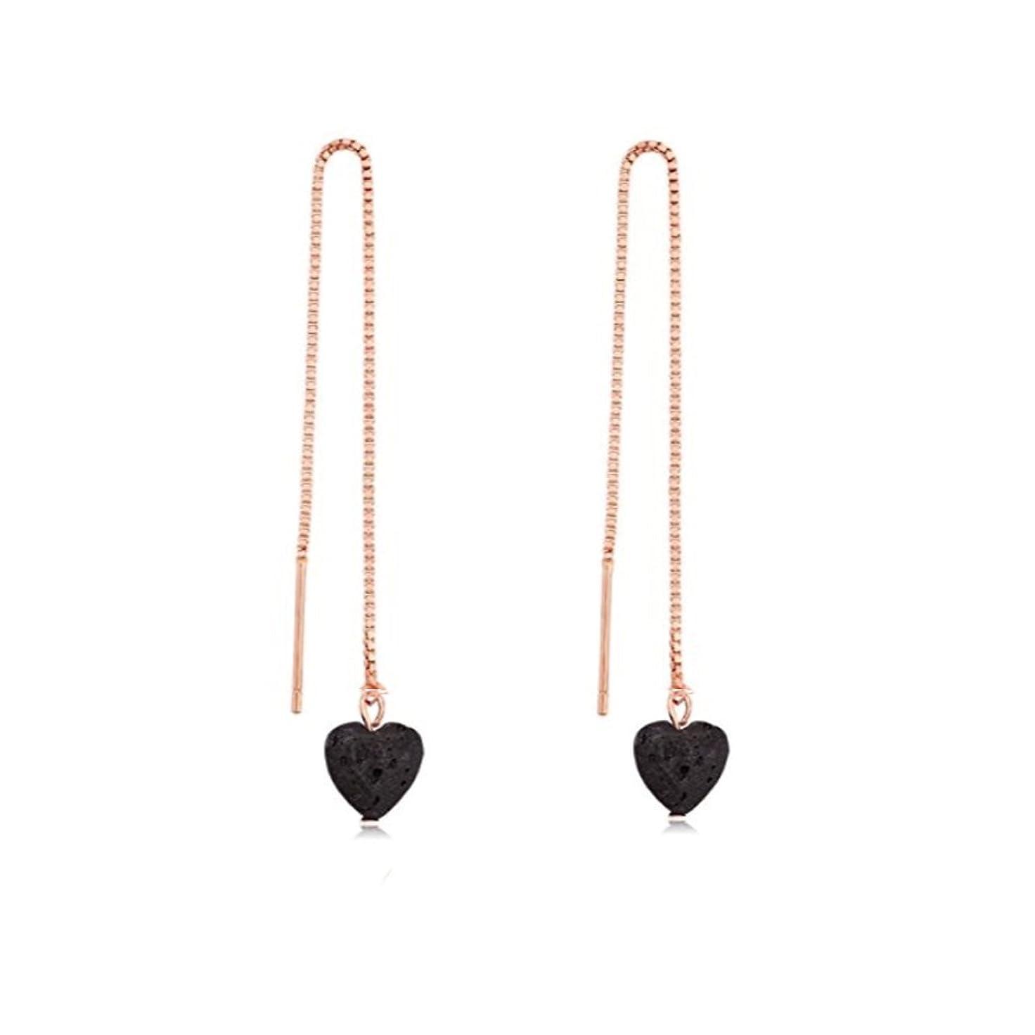 立ち寄る線ストリームmanzhen Small Heart Shape Lava Stone ThreaderイヤリングEssential Oil Diffuserイヤリング