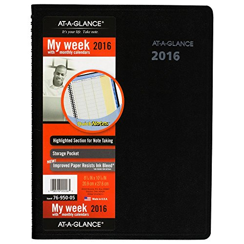 AT-A-GLANCE Quick Notes Weekly Monthly Appointment Book Planner 2017 8.25 x 10.88, Black (7695005)