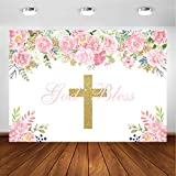 Avezano God Bless Baptism Backdrop for Girls First Holy Communion Christening Baby Shower Party Decorations Photoshoot Background Pink Floral Gold Glitters God Bless Party Backdrops (7x5ft)