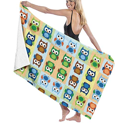 Boy Owls Quick Drying Beach Towels, Personality Bath Towel,Towels Beach Blanket for Boating, Pool, Beach,and Travel. (32 X 52 Inch)