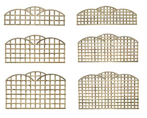 PGS Premier Triple Dome Topped Trellis Lattice Art Deco Garden Fence 2 3 4ft Fence (Privacy Hole Size 65mm, 87)