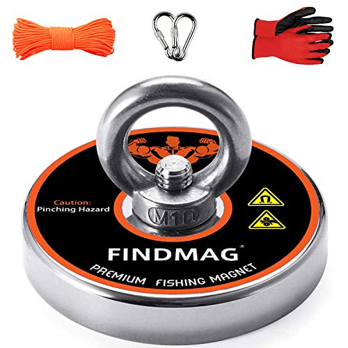 FINDMAG Fishing Magnets, Magnet Fishing, 600 LBS Pulling Force Super Strong Neodymium Round Magnet for Magnetic Fishing - 2.95inch Diameter