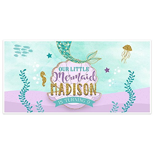 Mermaid Birthday Banner Party Decoration Backdrop