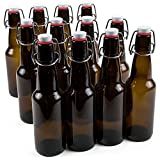 11 oz. Grolsch Glass Beer Bottle – Airtight Swing Top Seal Storage for Home Brewing of Alcohol, Kombucha Tea, & Homemade Soda by Cocktailor (12-pack)