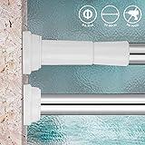 KINLO Duschvorhangstange 50-80CM Drehen verstellbar Duschstange auch als Kleiderstange/Spannstange mit sicherer Halt ohne Bohren in Schrank/Badezimmer