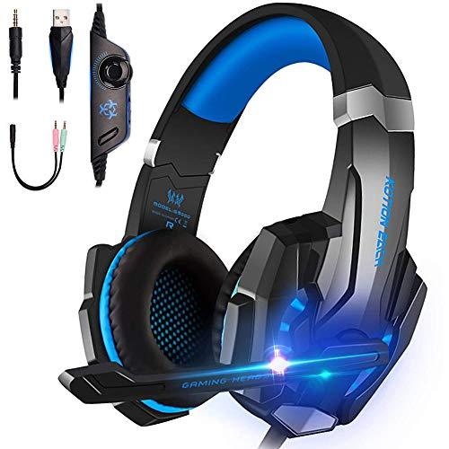 Matefielduk Auriculares de juego para PS4 con micrófono, auriculares para videojuegos, muy cómodos con cable USB de 3,5 mm, audio Jack y luz LED y control de volumen.