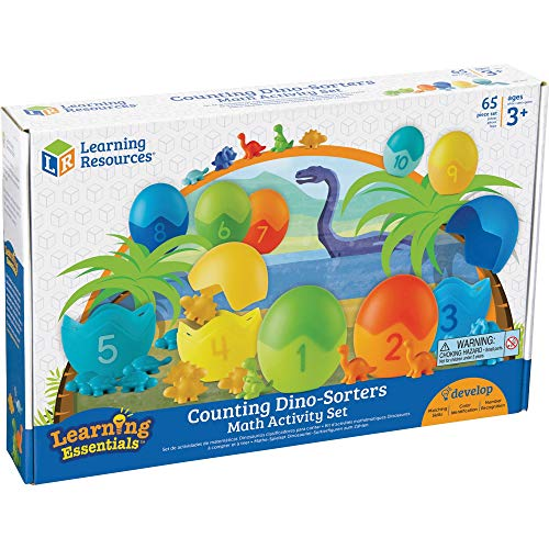 Learning Resources Counting Dino-Sorters Math Activity Set, Dinosaur Sorting Toy, 65 Pieces, Ages 3+