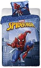Funda nórdica de 140 x 200 cm y funda de almohada de 65 x 65 cm, diseño de Spiderman (azul, 140 x 220 cm).