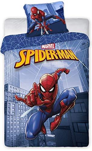 Bettbezug 140 x 200 cm + Kissenbezug 65 x 65 cm Spiderman (Blau, 140 x 220 cm)