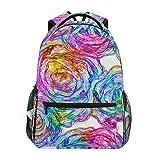 Casual Rucksack,Colored Roses Model College School Book Bag Adult Laptop Bag 40cm(H) x29cm(W)