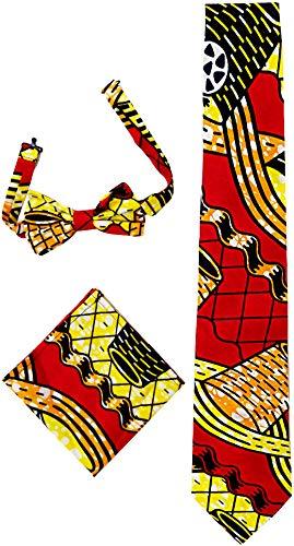 HongyuAmy Unisex Krawatten-Set aus Wachs-Baumwolle mit afrikanischer Fliege - - Einheitsgröße