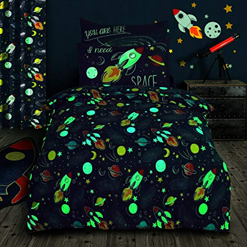 Velosso Glow in the Dark Space Bedding Set Quilt Cover and Pillowcase (Double)
