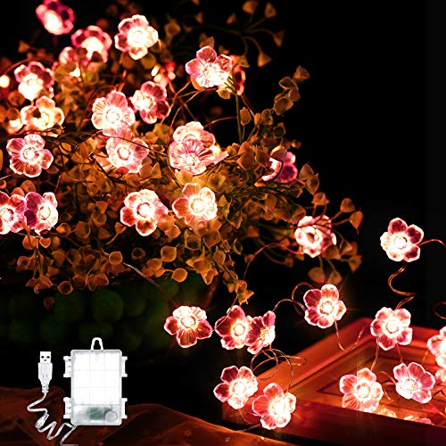 Butterfly Mushroom Cherry Blossoms String Lights, 16.4 ft 50 LEDs USB and Battery Operated Spring Summer Fairy Light Decor for Bedroom Party Garden Wedding with Remote Control (Cherry Blossom)