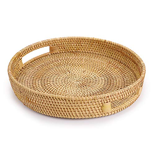 Hipiwe Round Rattan Serving Tray with Handles, Hand-Woven Decorative Organizer Tray for Storage Breakfast Drinks Snack, Centerpiece Fruit Basket for Home Decoration