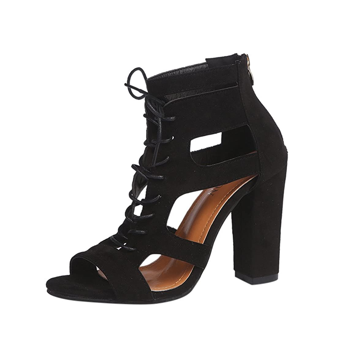 Nevera Women's High Heel Sandals Open Toe Ankle Strap Cutout Lace Up Block Heel Platform Shoes