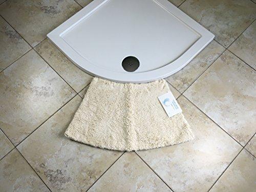 Cazsplash Luxus Quadrant Kleine Gebogene Duschmatte, Mikrofaser, Creme, 77 x 45 x 2,5 cm
