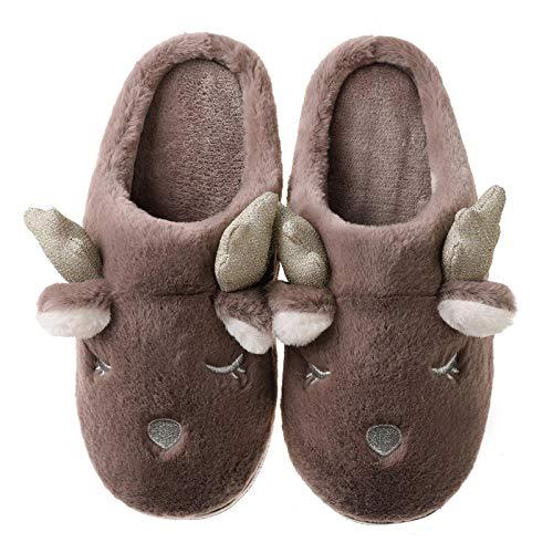 Y-PLAND Zapatillas de Dibujos Animados para Padres e Hijos, Zapatillas Impermeables de Felpa para Parejas, Zapatillas de algodn para nios en otoo e Invierno-4_UK9-9.5