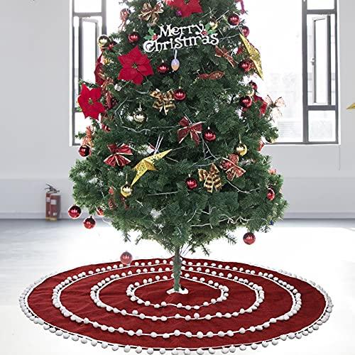 Falda de árbol de Navidad de tela no tejida natural de 48 pulgadas, falda roja del árbol de Navidad con bola blanca, falda reutilizable del árbol de Navidad, faldas del árbol de Navidad con pompón