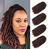 YEBO Spring Twist Hair 8 Inch 4 Packs Spring Twists Crochet Braiding Hair Ombre Colors Synthetic Hair Extensions 30 Strands/Pack, 110g/Pack(T350,8 Inch)