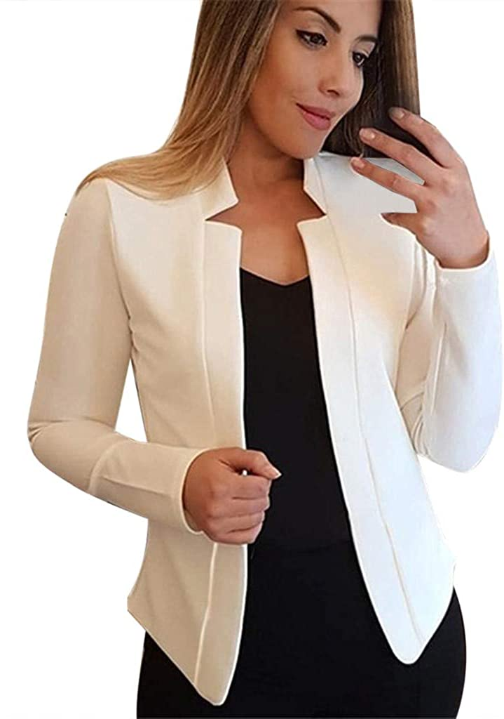 HUOJING Blazer for Women Solid Color Slim Cardigan Long Sleeve Pockets Coat Trench Coat Casual Suit Tops