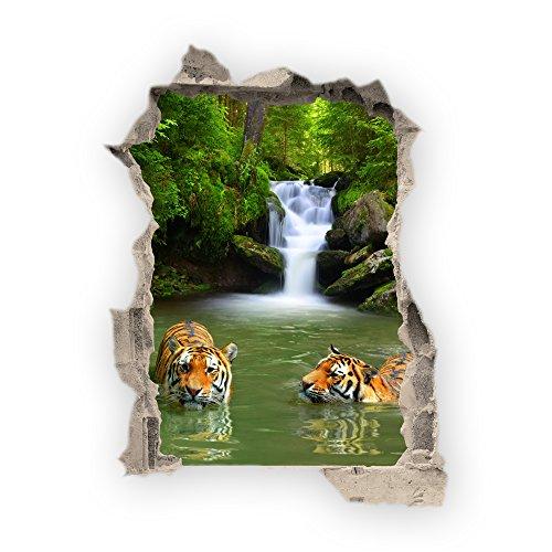 Haus und Deko Wandbild Sticker 3D wild Life Foto Tapete Wandtattoo ca. 125x100 cm in HD Qualität #1508 (Bath with Tigers)