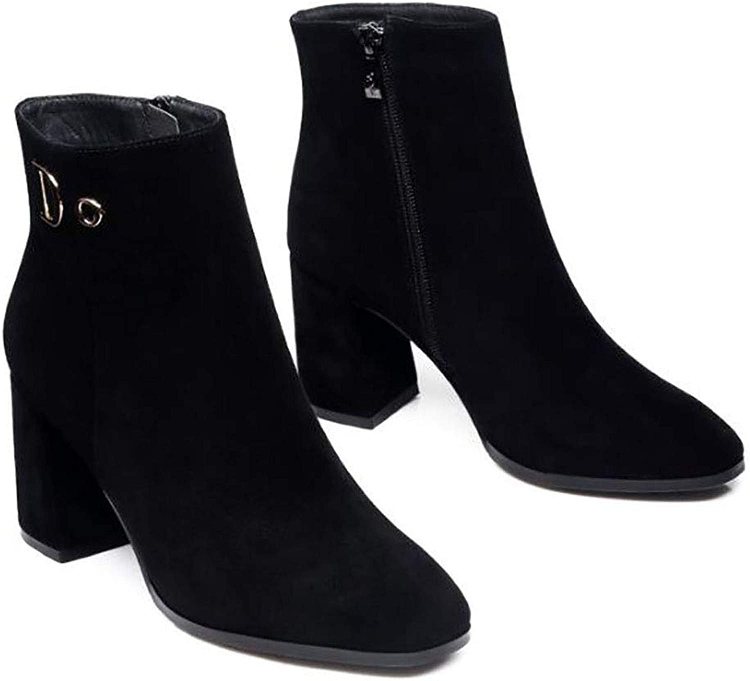 Women's shoes Square Head Thick Heel Boots high Heel Matte Martin Boots (color   A, Size   39)