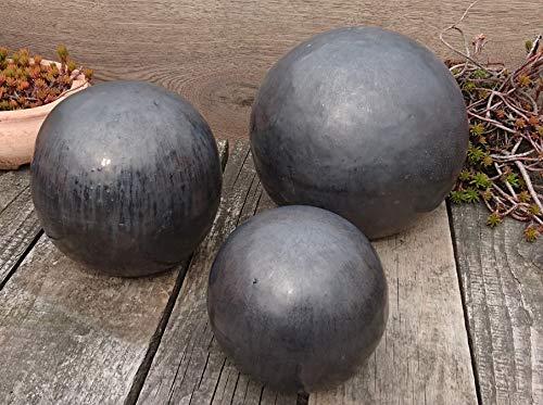 terracotta-toepfe-de Kugel ca. 30 cm aus Steinzeug Keramik- anthrazit glasiert Deko Garten
