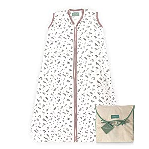 molis&co. Saco de dormir para bebé. 0.5 TOG. 6 a 18 meses. Ideal para verano. Bloom Pink. 100% algodón orgánico (GOTS).