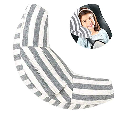 Car Seat Travel Pillow Neck Support Cushion Pad for Kids, WenMei Super Soft Headrest Shoulder Pad in Car, Universal Safety Belt Sleeping Pillow for Children Adults, Compatible with All Cars (Gray)