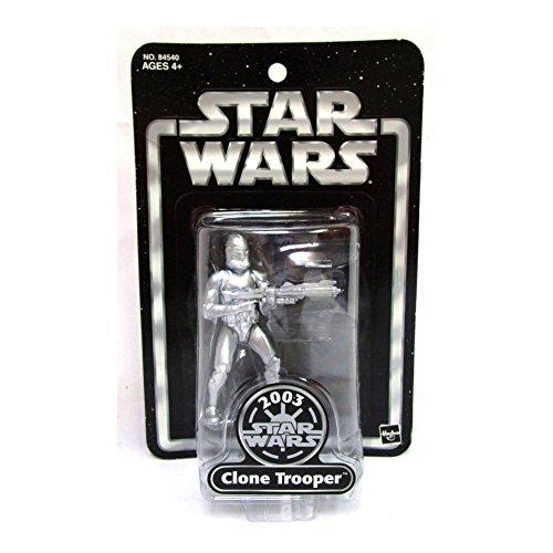 Hasbro Star Wars Silver Clone Trooper (2003) Black Blister Card Action Figure