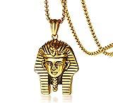 XUANPAI Men's Vintage Stainless Steel Two-Tone Egyptian Akhnaton Pharaoh King TUT Mummy Pendant Necklace