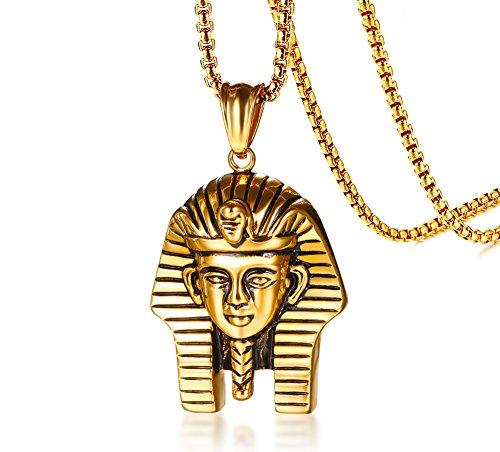 VNOX Acier Inoxydable antiquités plaqué Or Hommes Pharaon égyptien Collier Pendentif de Hip hop,chaîne Gratuite