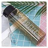 YSCSPQA - Tazza per acqua da 500 ml, in plastica trasparente, per esterni, per succhi freddi, per sport acquatici, portatile, con corda da latte (capacità: 500 ml, colore: 1)