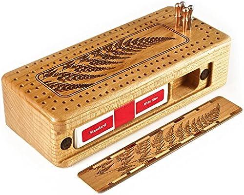 Mitercraft Fern Holz Cribbage Bord Mit Hochwertigen Metallklammern Und Karten Graviert