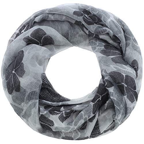 Faera Damen Schal mit Blumenmuster Blüten weicher und leichter Damen Loopschal Rundschal in verschiedenen Farben Einheitsgröße, SCHAL Farbe:Schwarz