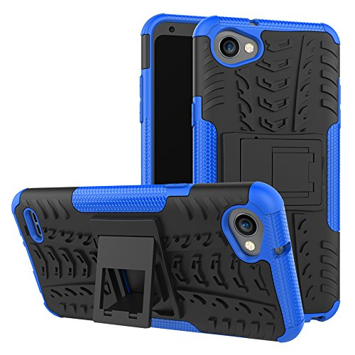 XINYUNEW Funda LG Q6, 360 Grados Protective+Pantalla de Vidrio Templado Caso Carcasa Case Cover Skin móviles telefonía Carcasas Fundas para LG Q6-Azul