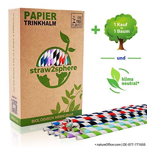 straw2sphere® 180 klimaneutrale Papierstrohhalme | 1 Kauf pflanzt 1 Baum | Trinkhalme aus Papier für Cocktails, Hochzeit etc. | umweltfreundlicher Bio Strohhalm Papier | gestreift