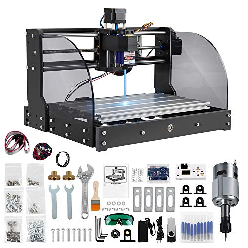Anbull 2 in 1 7000mW 3018 Pro Max Laser Engraver and CNC Router Engraving Machine, with Off-line Controller, 10 Router Bits, for Wood Plywood Plastic Leather Acrylic Paper Bamboo,No Limit Switch