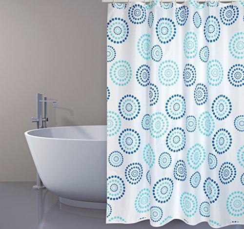 """MSV Cotexsa by Premium Anti-Schimmel Textil Duschvorhang - Anti-Bakteriell, waschbar, 100% wasserdicht, mit 12 Duschvorhangringen - Polyester, """"Dots"""" Blau 180x200cm – Made in Spain"""