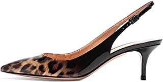 Women's Pointed Toe Slingback Shoes Kitten Heel Pumps Comfortable Dress Shoes