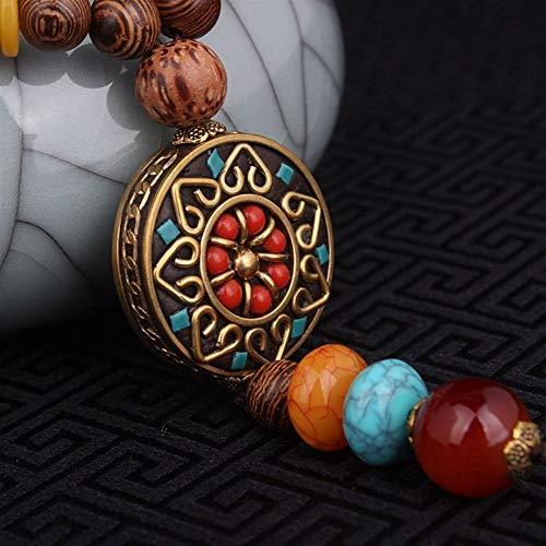 Moda evadir Collar étnico, La Flor de la Vendimia Religiosa Placa Redonda de la joyería de Nepal, Hecha a Mano Sanwood Bodhi Collar Vintage (Color : A, Size : Small)