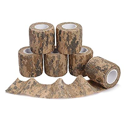 2'' 4.92yds 14.76ft Camo Hunting Bandage Roll, Multiple ACU Camouflage Adhesive Tape, Nonwoven Fabric Cohesive Bandage, Flexible Hunting Decor Stealth Protective Tape for Hunting Accessory Covering