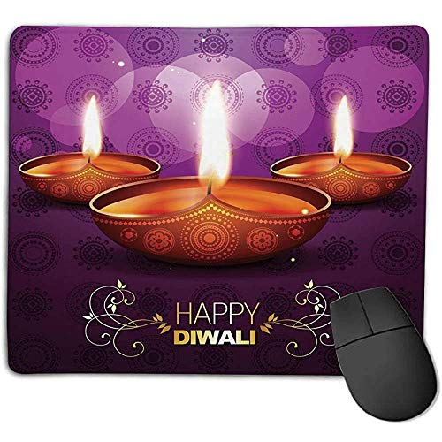 Muis Pad Diwali Etnische Tribal Viering Religieuze Kaars Brandende Afbeelding en Paisley Achtergrond