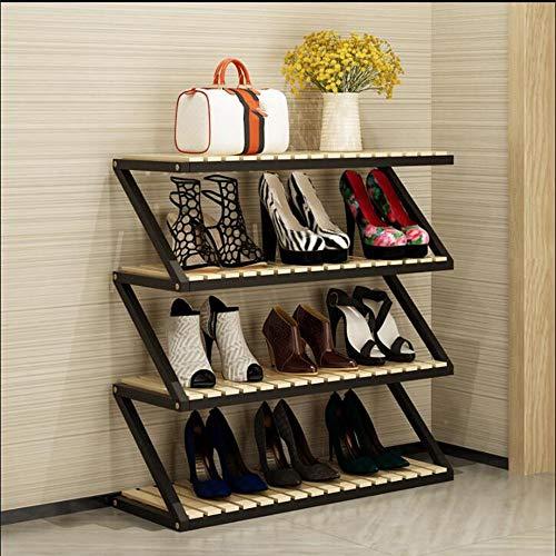 LJHA Étagère à chaussures solide bois stockage rack Hall armoire chaussure armoire salon maison chaussure rack multicouche simple ménage espace grande capacité rack à chaussures 80 * 26 * 76cm Meubles