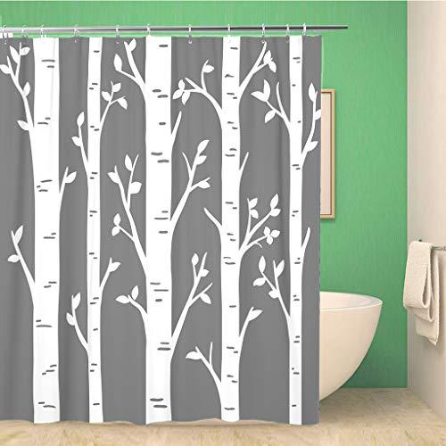 Awowee Decor Duschvorhang, Birkenhain, Aspenbäume, Blätter, lasergeschnittenes Muster, 180 x 180 cm, Polyester, wasserdicht, Badvorhänge Set mit Haken für Badezimmer